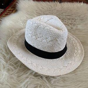White Panama Straw Fedora Hat